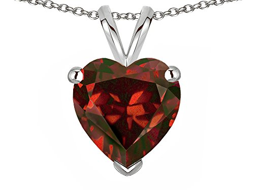 Star K Genuine Garnet 8mm Heart Pendant Necklace 10 kt White Gold ()