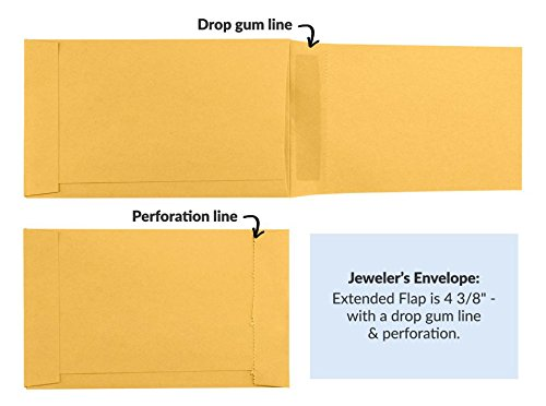 Jewelers/Coupon Envelope (3 5/8 x 6) - 28lb. Brown Kraft(250 Qty) | Perfect for Jewelry, Parking Tickets, Fee Collections & Payroll Distributions | 28lb. Paper | 4340-BK-250 by Envelopes.com
