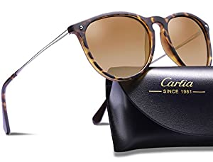 Carfia Polarized Sunglasses for Women Men?Vintage Oversized Sunglasses with Case? 100% UV400 Protection