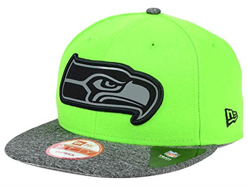 (Seattle Seahawks New Era Snapback One Size On-Field Gridiron Collection Hat NFL Authentic Cap OSFA Snap Back - Lime Green / Gray)