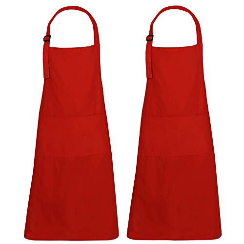 RAJRANG BRINGING RAJASTHAN TO YOU Red Aprons Set of 2 - Restaurant BBQ Apron for Cooking and Baking Made with Pure Cotton - 35 x 27 Inches
