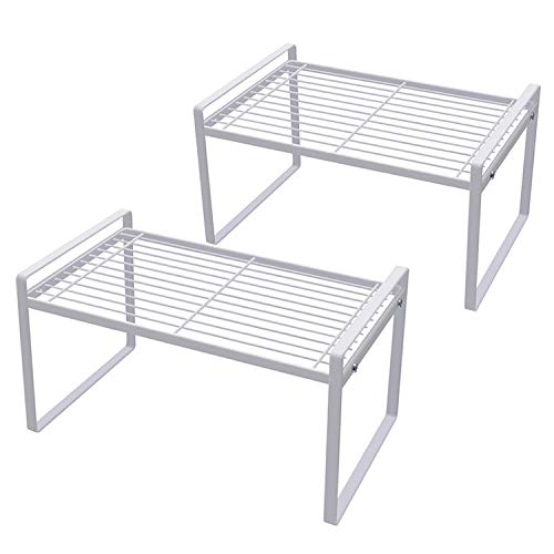Shantton 2 Pack Kitchen Cabinet Shelf Counter Organizer Rack Pantry Storage Bathroom Bedroom Office Table Desk Space Saving Steel Frame Stackable Rust Resistant Non Slip