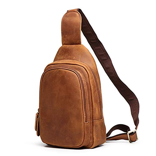 Casual Sling Crossbody Chest Leather Men Backpack Outdoor Waterproof Chest Bag Bags Messenger Men's Bag Ybriefbag Women Shoulder for Travel Sports nqzwS0nfO