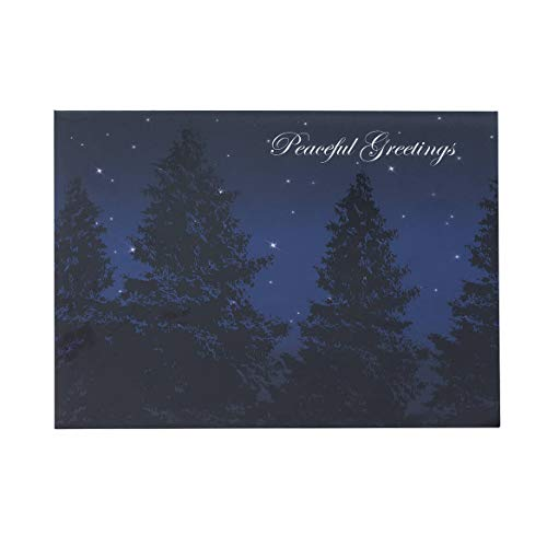 Tree Embossed Seals - Peaceful Evening Christmas Card Set of 18