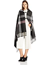 Women's Plaid Ruana with Toggle Closure