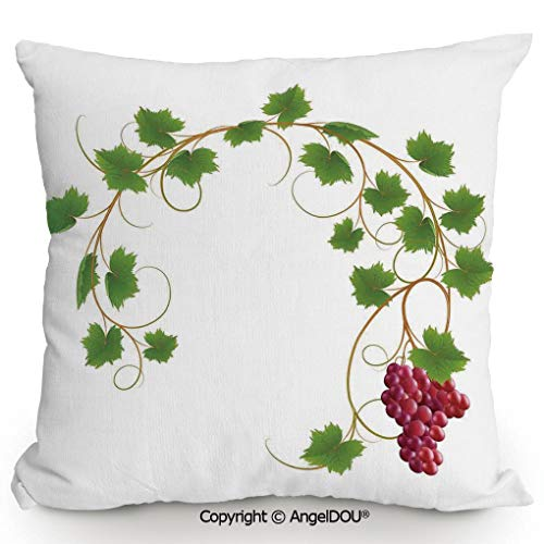 AngelDOU Throw Pillow Cotton Linen Pillow Cover and Inserts,Curved Ivy Branch Deciduous Woody Wines Seed Clusters Cabernet Kitchen,Modern Home Office Sofa Bed Nice Decor.23.6x23.6 inches ()