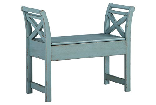 Furniture Ridge Blue (Ashley Furniture Signature Design - Heron Ridge Storage Accent Bench - Antique Blue Finish - Hinged Seat)