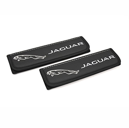 Jaguar seat belt covers pads shoulder for adults Black seatbelt cover pad with embroidered Jaguar emblem (silver and grey) Interior accessories 2 pcs from Car Interior