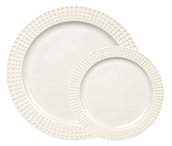 """Table To Go 'I Can't Believe Its Plastic' 7.5"""" Salad Plates, 50 Pieces, Collection -  Classic Venice, Color - Bone"""