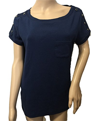 talbots-navy-blue-button-shoulder-tee-top-shirt-size-xp-12-wp