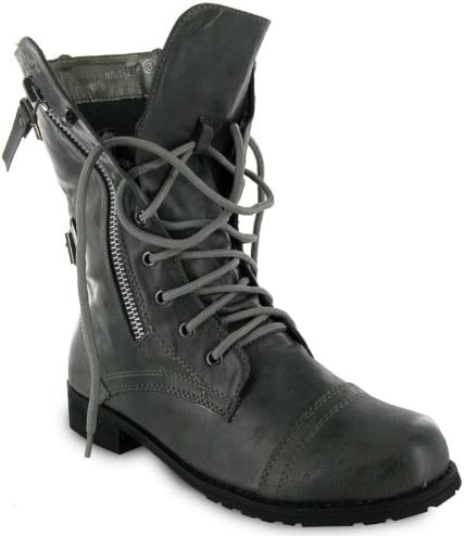 Womens Military Grey Army Combat Boots