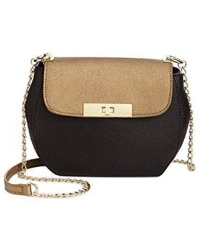INC Womens Milner Faux Leather Colorblock Saddle Handbag Black Small ()