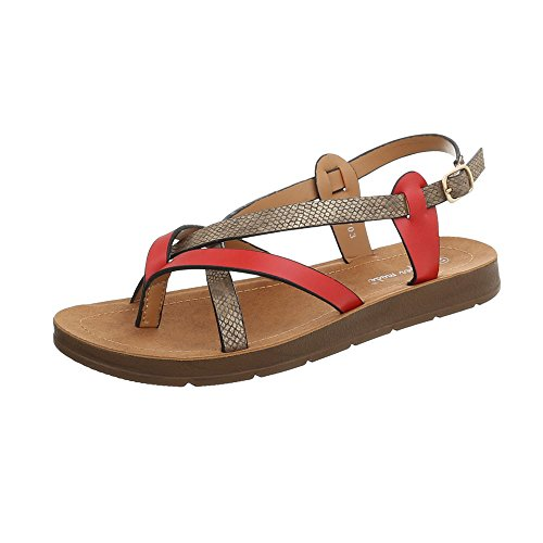 Ital-Design Women's Sandals Flat Thong Sandals at Red Multi 3703