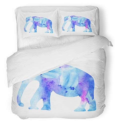 Emvency Bedsure Duvet Cover Set Closure Printed Decorative Painting Cute Blue Elephant Watercolor Bright Dishes Purposes Thai Thailand Breathable Bedding Set With 2 Pillow Shams Twin Size by Emvency