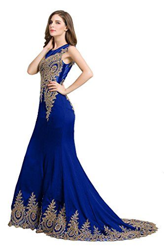 Emily Abend Sweep Arm Beauty Kleider Königsblau Tailing Meerjungfrau Ohne Zurück Transparent 7FpwwxdqRO