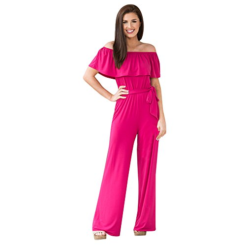 Pongfunsy Women's Jumpsuits, Off The Shoulder Ruffle Playsuit Bodycon Party Clubwear Jumpsuit Belted Wide Leg Pant Romper Hot Pink