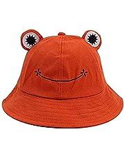 JFAN Lovely Frog Fishermen Hat Bucket Hat Summer Cotton Bucket Sun Hat Women Children Wide Brim Fisherman Cap