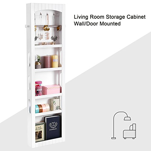 SONGMICS Bathroom Storage Cabinet, Door/Wall Mounted Save Floor Space, Adjustable Shelves White UBBC74WT by SONGMICS (Image #5)