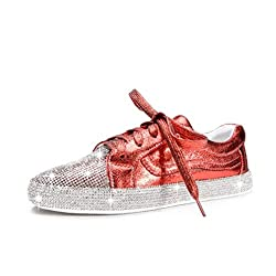 Rhinestone Flats Sneakers With Round Toe