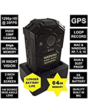 GUARDIAN G1 BODY CAMERA 64GB - FULL HD 1296p @30fps & 32MP Camera with a 140 Degree Wide Angle Lens + IR Night Vision, GPS // Comes with built in 64 GB Memory Card + Chest Harness