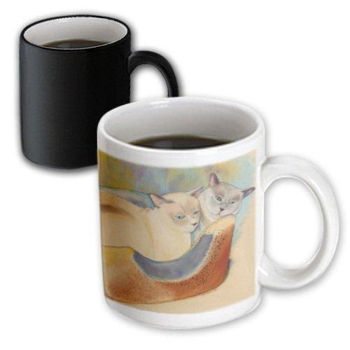 Cats Cuddling, Pastel Painting, Pet Portrait, Magic Transforming Mug, 11-Oz (Portrait Pets Mug)