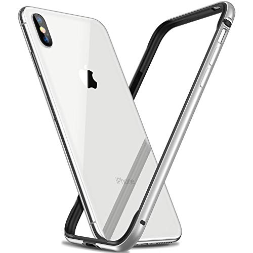 RANVOO iPhone Xs Max Bumper Case, Hard Slim Thin Metal Bumper with Soft TPU Inner Frame Case for iPhone Xs Max 6.5 Inch(2018)-Silver