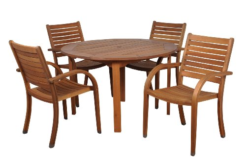 Amazonia Arizona 5 Piece Round Outdoor Dining Set |Super Quality Eucalyptus Wood| Durable and Ideal for Patio and Backyard, Light ()
