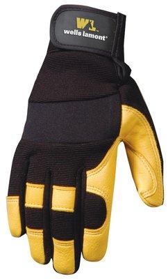 Wells Lamont Work Gloves with Grain Deerskin with Spandex Back, Hook & Loop Wrist Closure