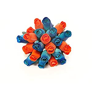24 Realistic Wooden Roses - Blue and Orange 21