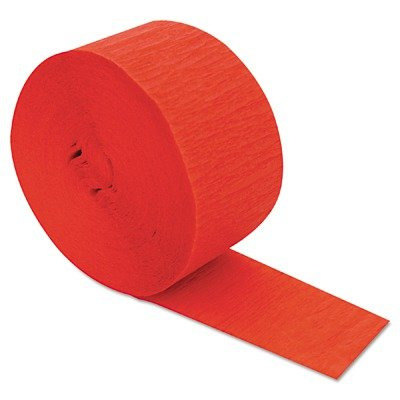 CINCC3670 Crepe Streamers, 1 3/4quot; x 81ft, Flame Red by CINCC3670