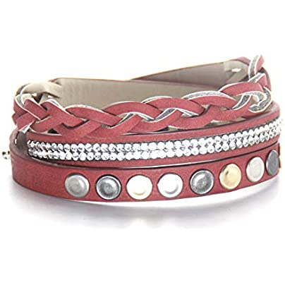 ZUOZUO Leather Wristband Personality Leather Ladies Bracelet Three-Color Rivet Temperament Wild Set Auger Bracelet Estimated Price £18.99 -