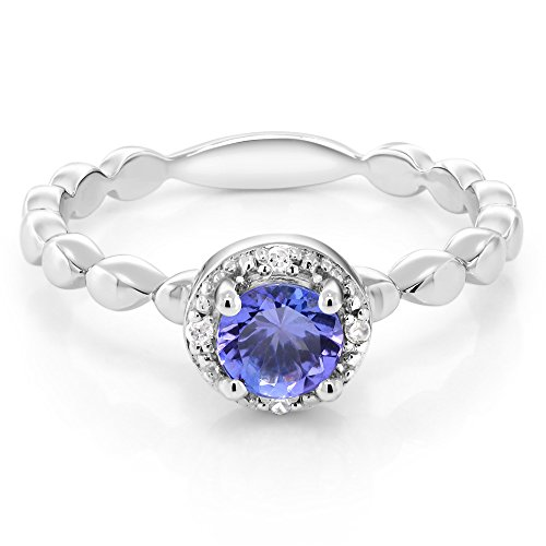Blue Tanzanite White Diamond 925 Sterling Silver Women's Ring 0.49 Ctw Round (Size 7)