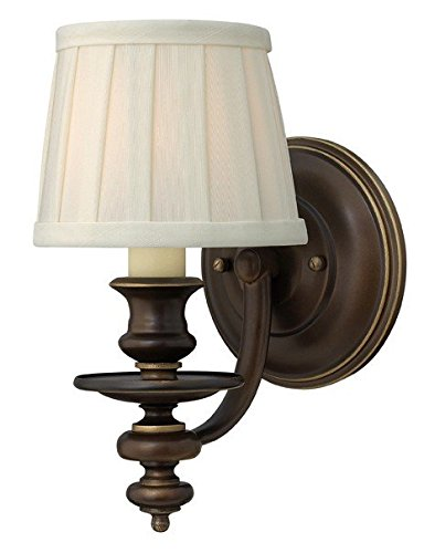 Wall Dunhill (Dunhill Single Sconce In Royal Bronze With Pleated Fabric Shade. Vintage Wall Lighting.)