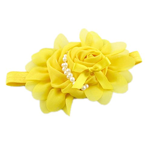 HAPPY CHERRY 1 Pc Baby Girls Pearl Flower Headband Hairband Accessories - Yellow - Newborn-2 Years