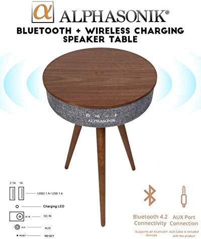 Alphasonik Decor Modern Home Portable Bluetooth Speaker 360 Surround HD Sound with 10 Speakers Drivers Built-in Qi Wireless Charger Dual USB AUX Inputs End Table Coffee Table Night Stand – Walnut