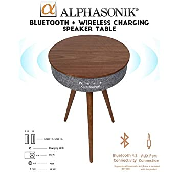 Image of Alphasonik Decor Modern Home Portable Bluetooth Speaker 360 Surround HD Sound with 10 Speakers Drivers Built-in Qi Wireless Charger Dual USB AUX Inputs End Table Coffee Table Night Stand - Walnut