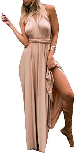 Cut Dress Sleeveless Maxi Plunge Neck Coolred Women Swing Sexy Bandage V Fashion Backless Champagne fHnAq7I