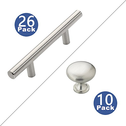 Sunriver Cabinet Hardware 26 Pack T Bar Cabinet Pulls 10 Pack Cabinet Knobs Kitchen Handles Stainless Steel for Bathroom Bedroom Cupboard Door and Drawer