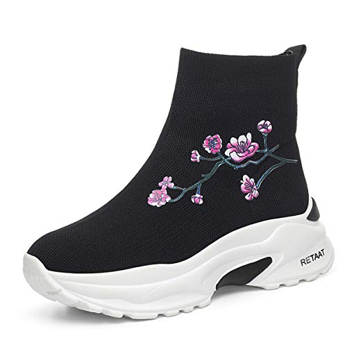 ethnic super shoes gules Women's sports fire shoes Work Ladies shoes style socks AJUNR shoes Autumn high wSAPqp7