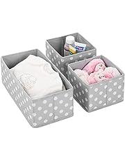 mDesign Juego de 3 cajas de almacenaje para habitaciones infantiles o baños – Cestas organizadoras en fibra sintética de lunares – Organizadores de armarios en 2 tamaños – gris claro/blanco