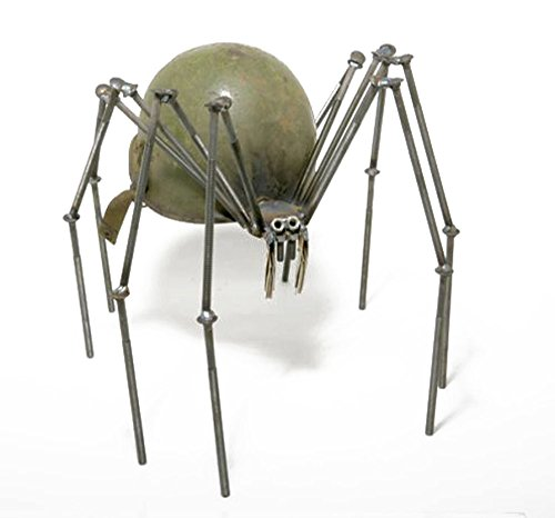 Welded Metal Art Gnome Be Gone Large Helmet Spider