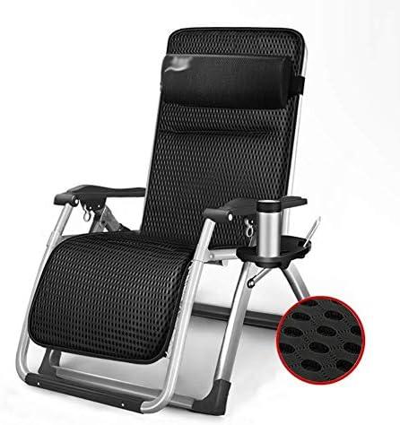 サンラウンジャー、無重力椅子、折りたたみ式パティオラウンジチェア、屋外調節可能なリクライニングチェア、ビーチキャンプ クッションを備えた重い人のためのポータブルチェア(色:黒)