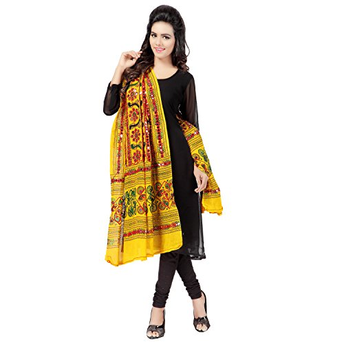 Banjara Women's Cotton Stoles & Dupattas Kutchi Bharchak Free Size Lemon Yellow by Banjara