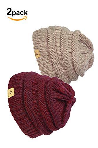 Stretch Mens Beanie (Basico Unisex Adult Warm Chunky Soft Stretch Cable Knit Beanie Cap Hat (101 2pk Camel/M.Burgundy))