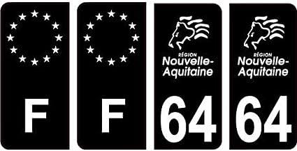 Autocollant plaque immatriculation auto d/épartement 64 Pyr/én/ées Atlantiques