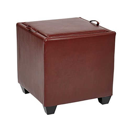 OSP Designs Office Star Metro Bonded Leather Storage Ottoman Cube with Tray, Crimson Red