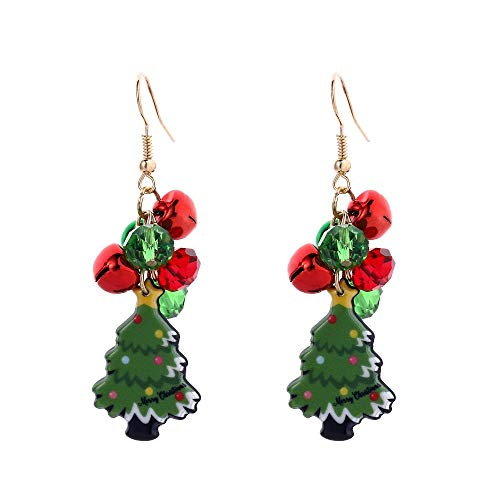 Christmas Tree Earrings, Crystal Drop Dangle Earring, Holiday Party Jewelry for Women