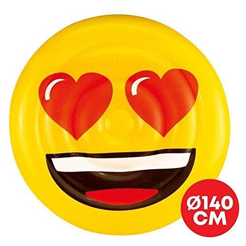 Lively Moments Île de Baignade/Matelas Gonflable/Conception Ile Emoji avec Herzaugen / Smiley Heart / Émoticône