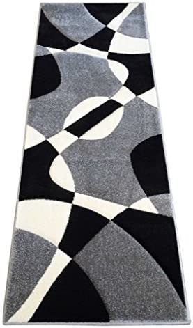 Modern Area Rug Runner 32 Inch X 7 Feet Hollywood 284 Gray