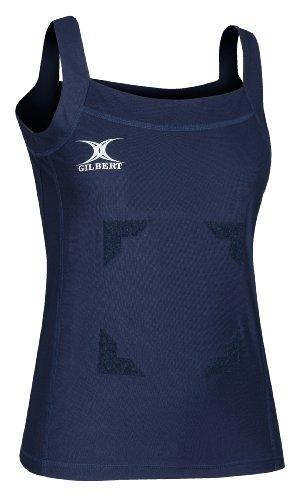 GILBERT Blaze Top de Netball sweatdry plástico plano dobladillo plano ajuste Sleeveless Camiseta azul / azul marino